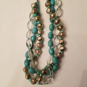 Fun Turquoise, Silver, Clear Beads Chunky Necklace